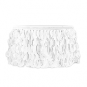 17u2032 Curly Willow Organza Table Skirt U2013 White